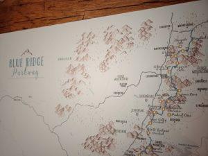 Blue Ridge Parkway art map on canvas