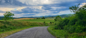 landscape view of blue ridge mountains along a country road in Rockbridge Baths, Virginia