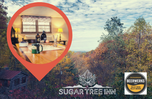 Background image of Fall foliage in the Blue Ridge mountains with a superimposed photo map pin featuring an image of a dining room table topped with Scrabble, Great Valley Farms growler and Devils Backbone growler, along with Sugar Tree Inn's logo and Shenandoah Beerwerks Trail logo in bottom right corner