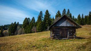 Single Room log cabin in grassy meadow