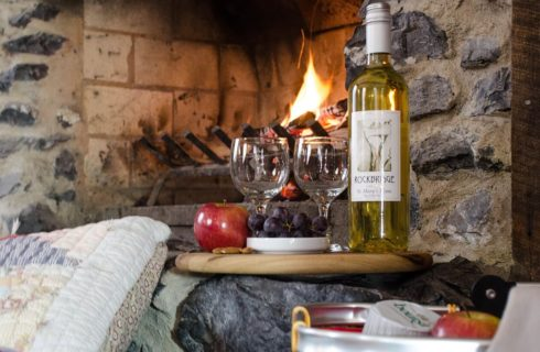 Round wooden cutting board with wine, fruit and two wine glasses and stainless bin of boursin and fruit in front of cozy stone wood burning fireplace.