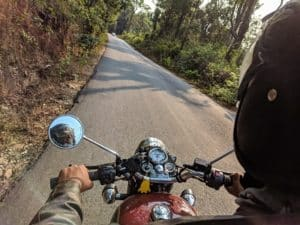 motorcyclist view of driving mountain road