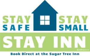 Stay safe, stay small, stay inn Logo in blue and light green with house silhouette