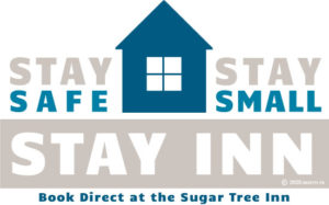 Stay safe, stay small, stay inn Logo in blue and light khaki with house silhouette