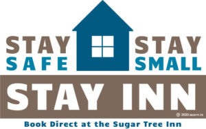 Stay safe, stay small, stay inn Logo in blue and dark khaki with house silhouette